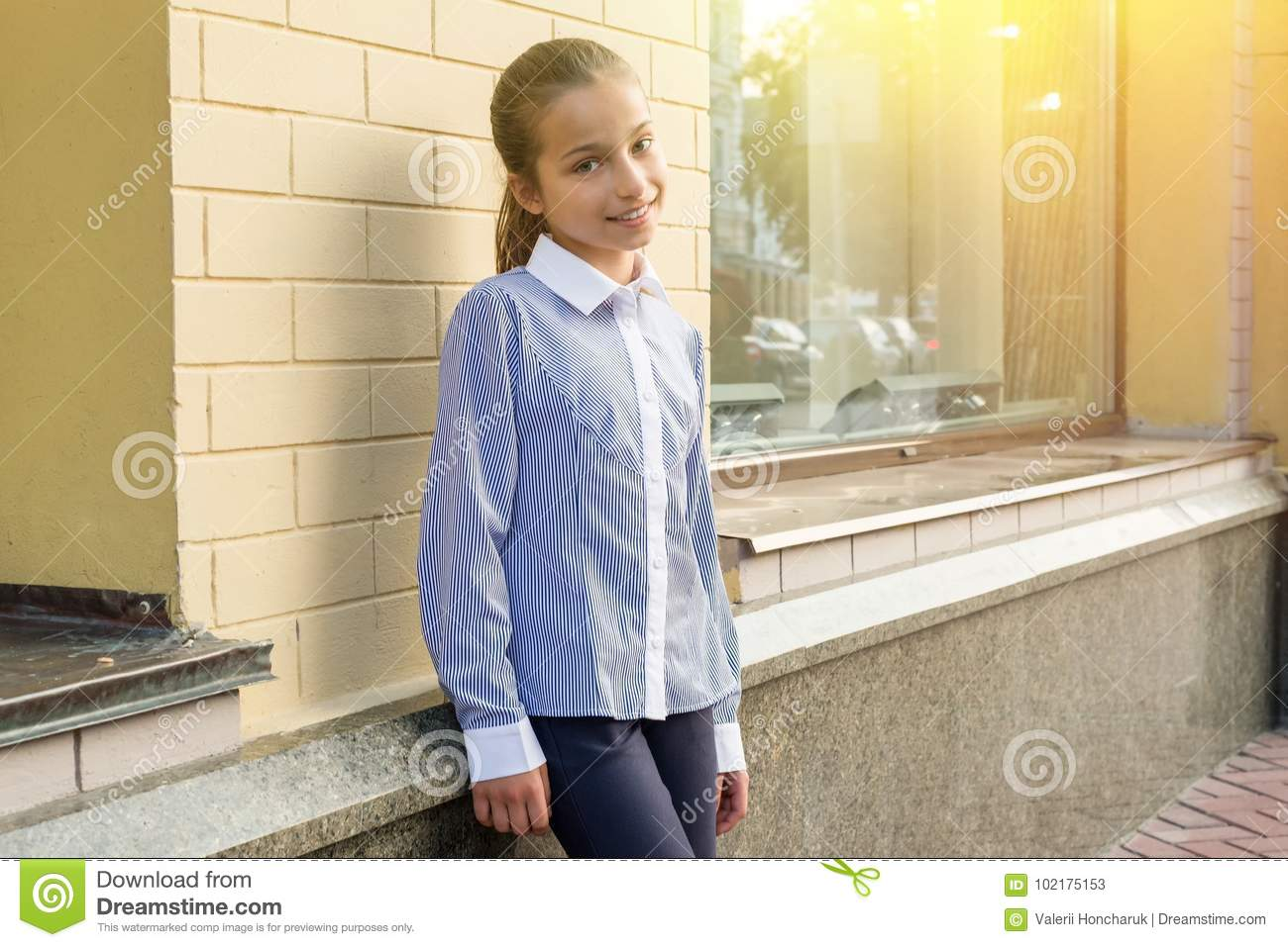 Download Portrait Of A Girl Of 10-11 Years Old. Stock Image - Image of casual, female: 102175153