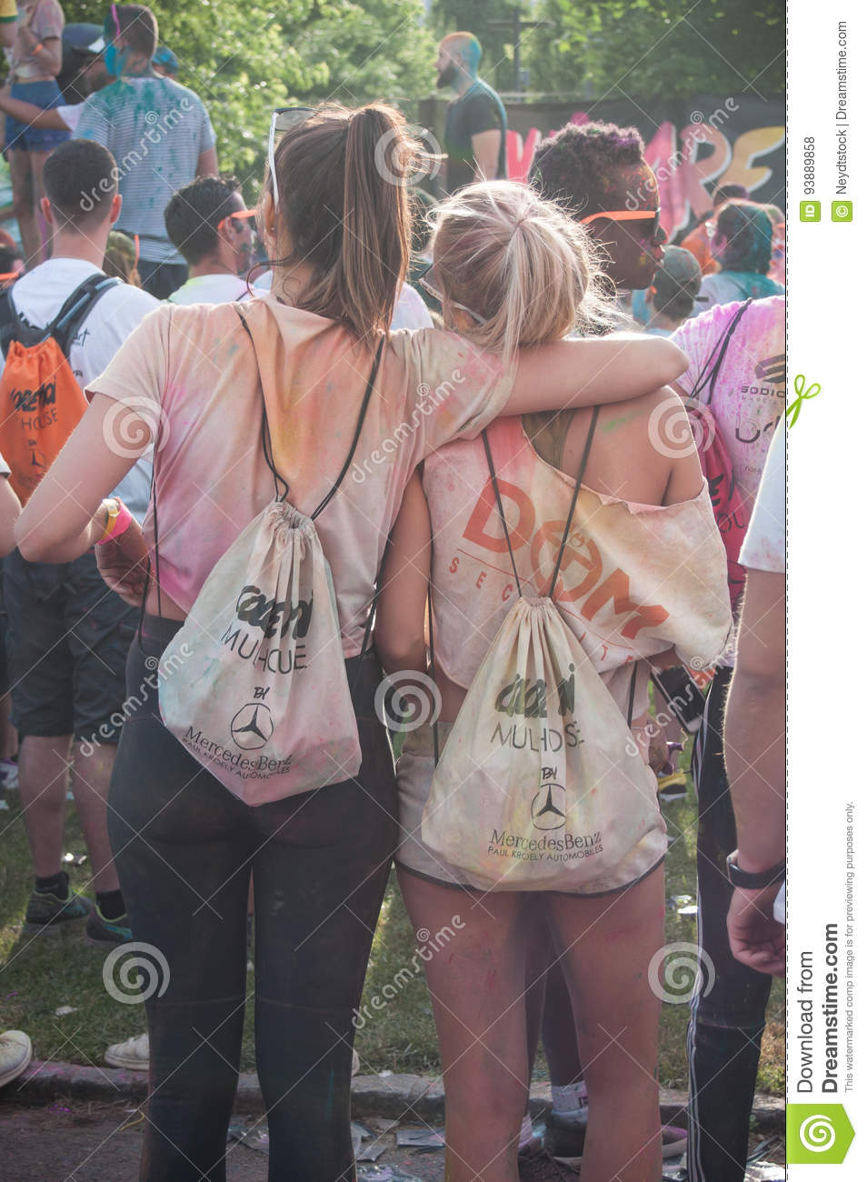 Portrait of girls with backpack at Colore Mulhouse 2017