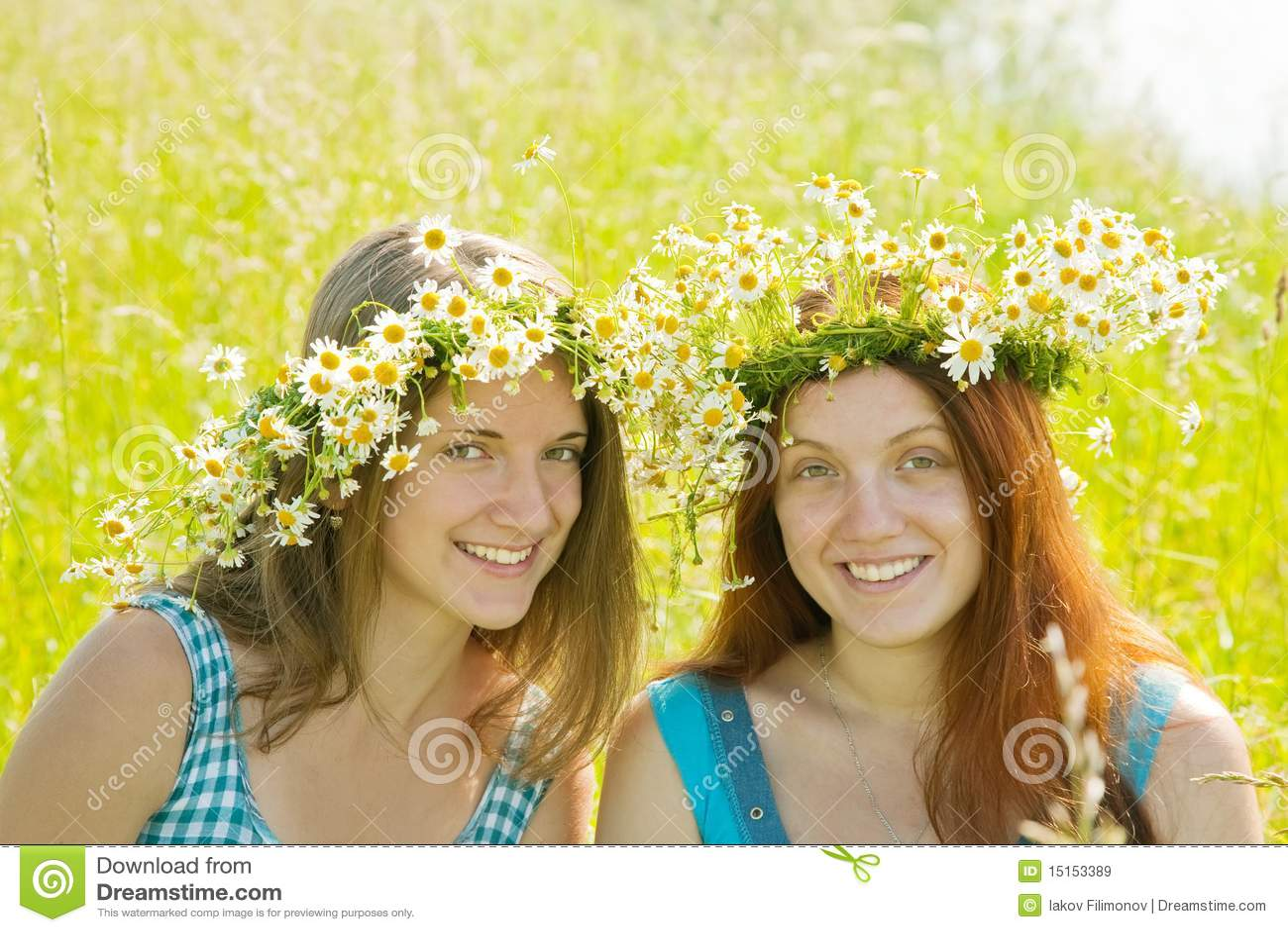 Portrait of girls in wreaths