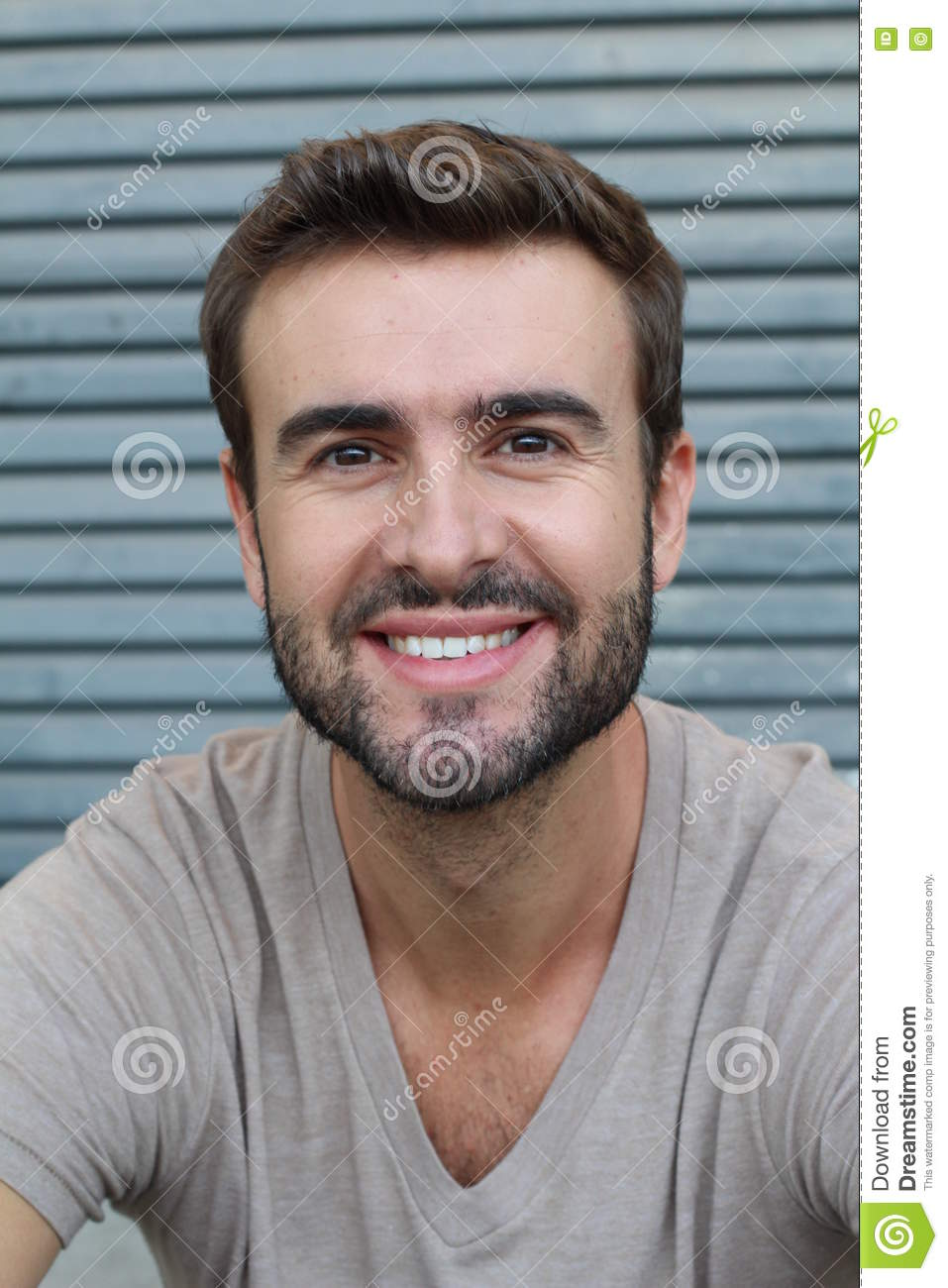 Portrait Of Good Looking Smiling Bearded Man With Perfect White Teeth Young Beautiful Caucasian Male