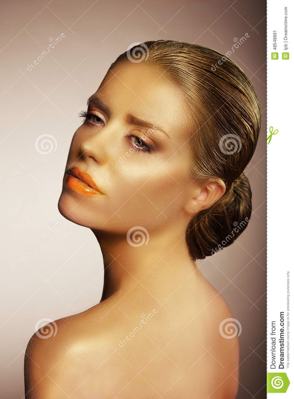 Portrait Of Gorgeous Female Painted Gold Stock Photo - Image: 48548891