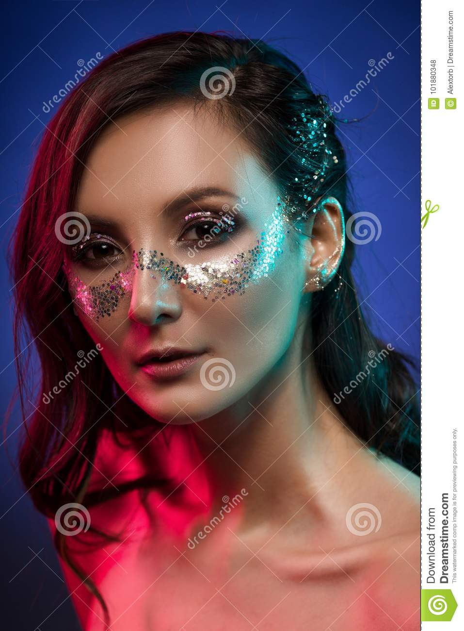 Portrait Of Gorgeous Glam Girl, Artistic Glittering Make-Up On A Stock Photo - Image -1402