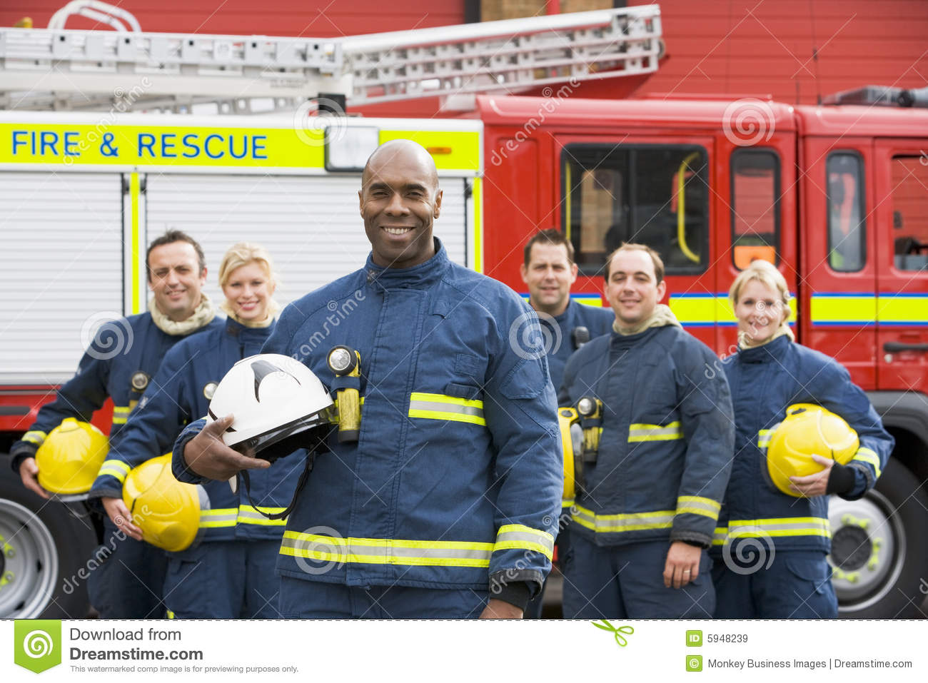 Portrait Of A Group Of Firefighters Royalty Free Stock Images - Image