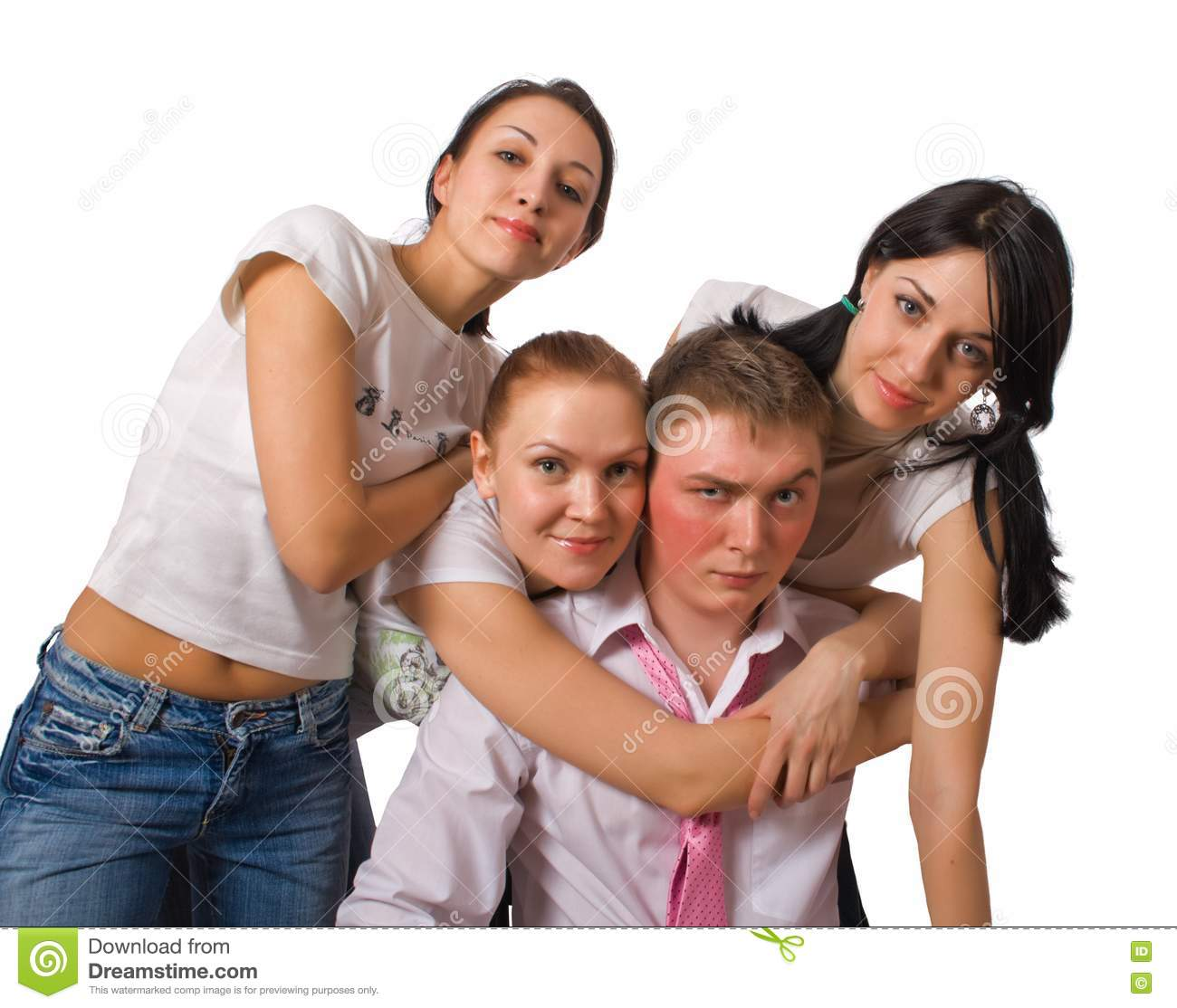 Portrait Of Group Funny People Stock Photography