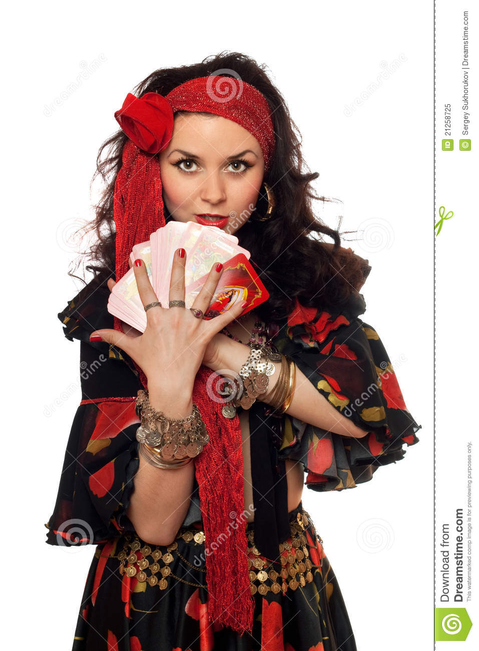 Portrait Of Gypsy Woman With Cards Royalty Free Stock