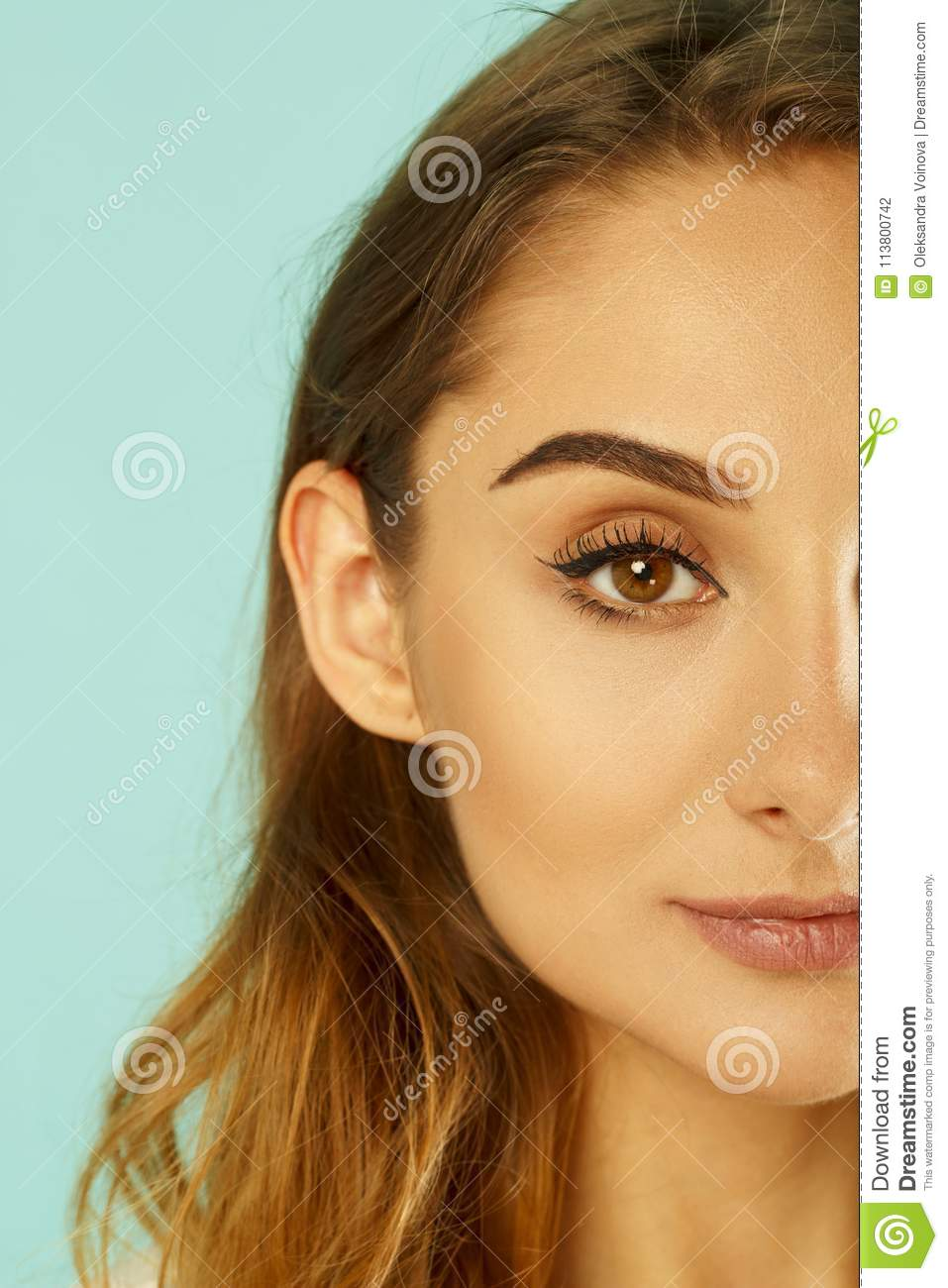 Portrait Of Half Face Of Beautiful Woman With Beautiful