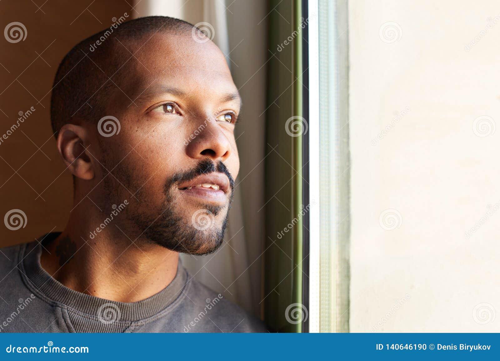 Portrait of HANDSOME african black man. Horizontal
