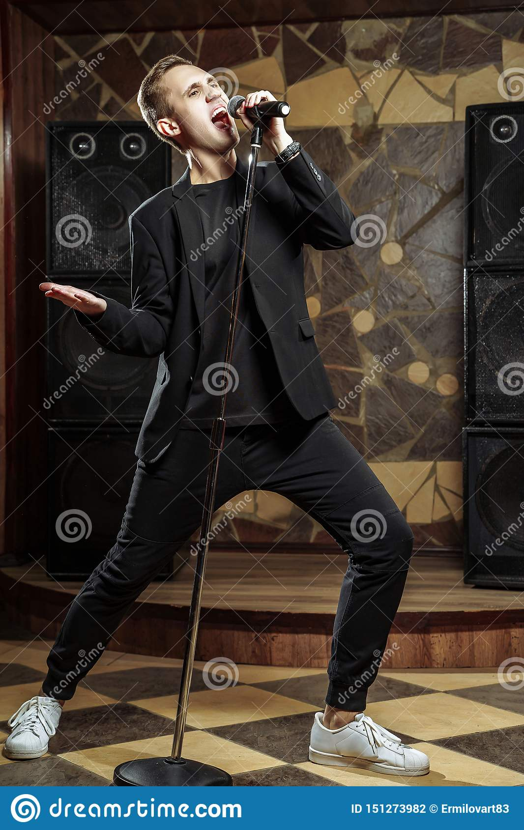 Portrait Of Handsome Attractive Singer Singing Hit With ...