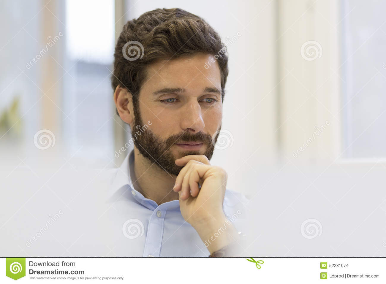 Portrait Of Handsome Hipster Style Bearded Man In Office Stock Photo - Image: 52281074