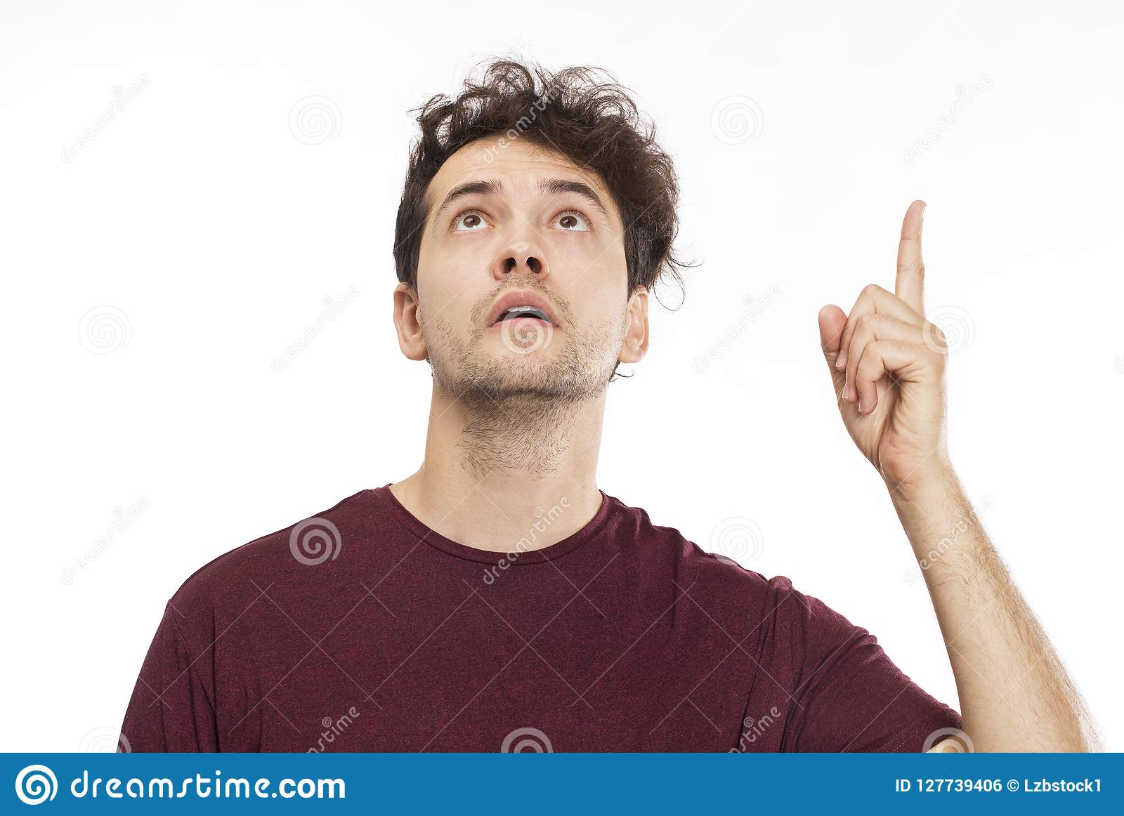 Portrait Of A Handsome Man Looking Up And Showing Something Isolated On White Stock Photo Image Of Open Copy 127739406 Frank got up and went from window to window cautiously. https www dreamstime com portrait handsome man looking up showing something isolated white cheerful young wall image127739406