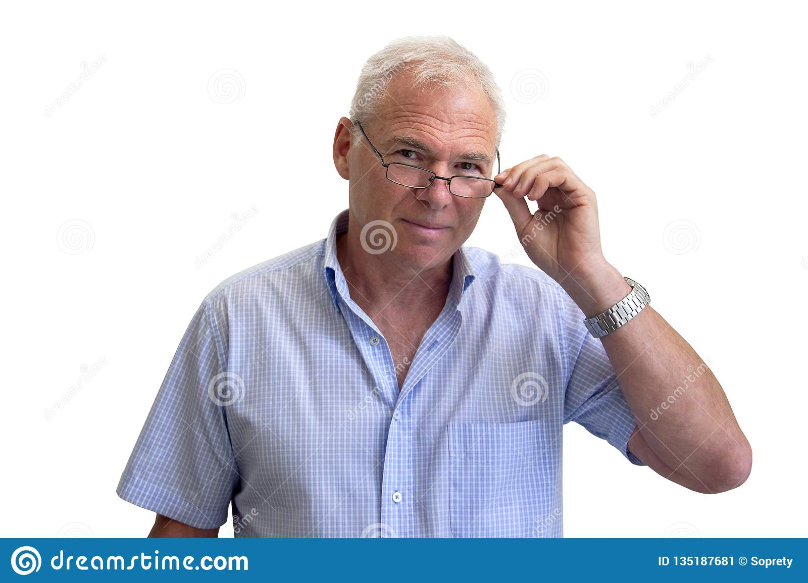 Portrait of a handsome mature man with glasses