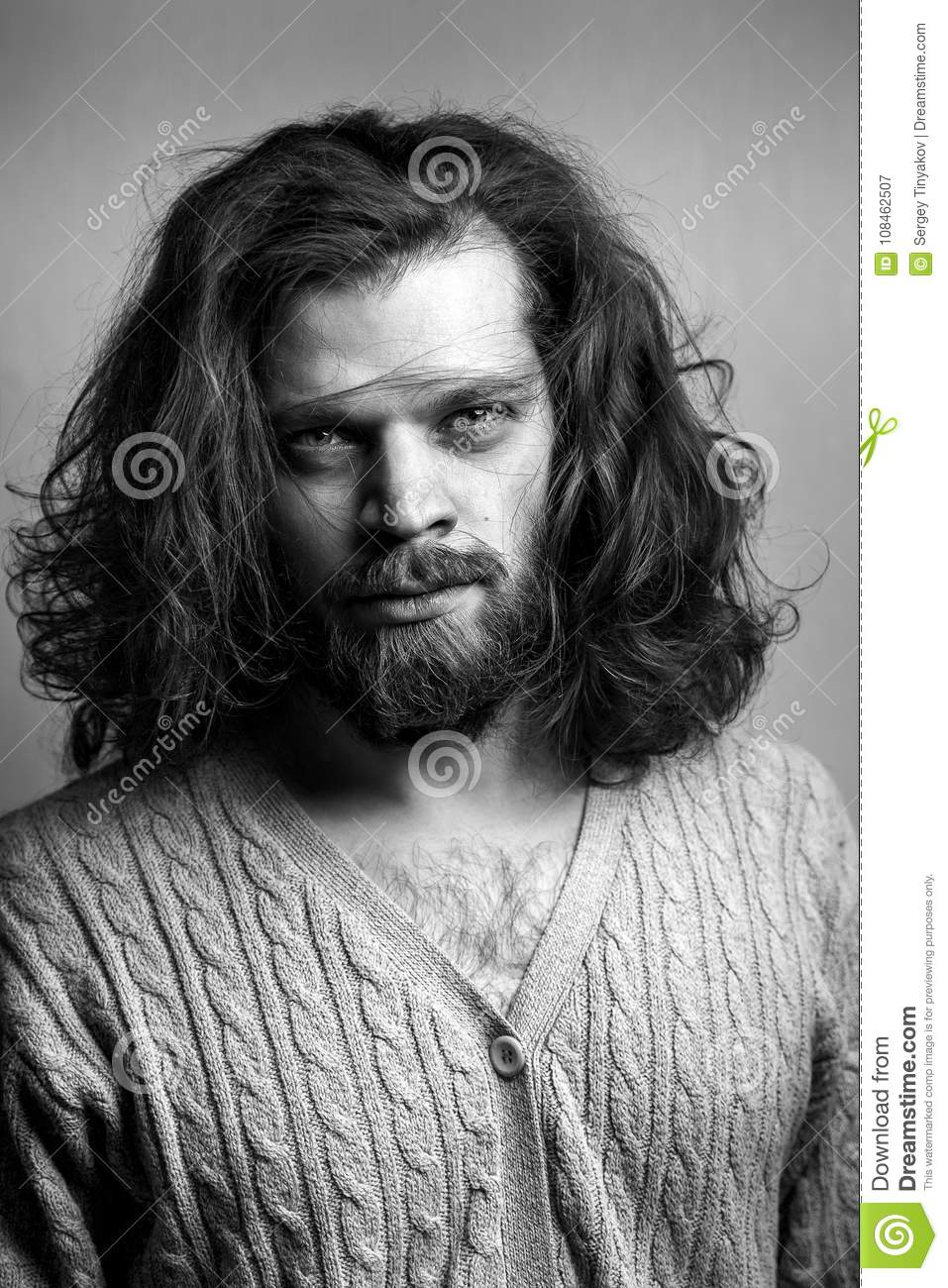 Fine Portrait Of Handsome Stylish Man With A Beard Long Hair And Big Schematic Wiring Diagrams Amerangerunnerswayorg