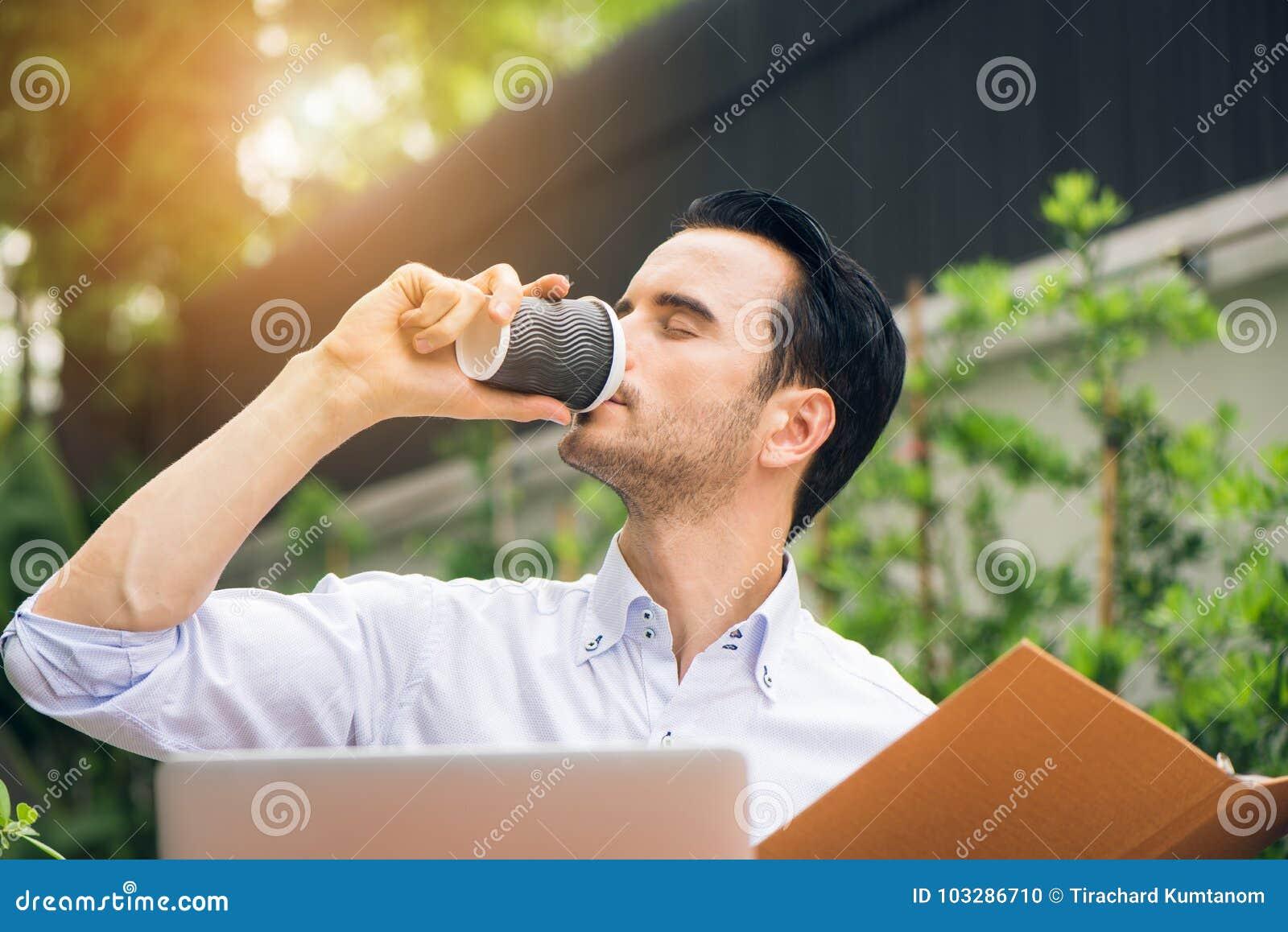Take Break Coffeebreak : Portrait of handsome successful man drink coffee happy man take
