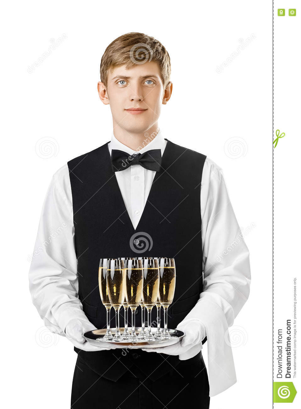 Waiter Or Bartender Holding A Silver Tray Stock Photo