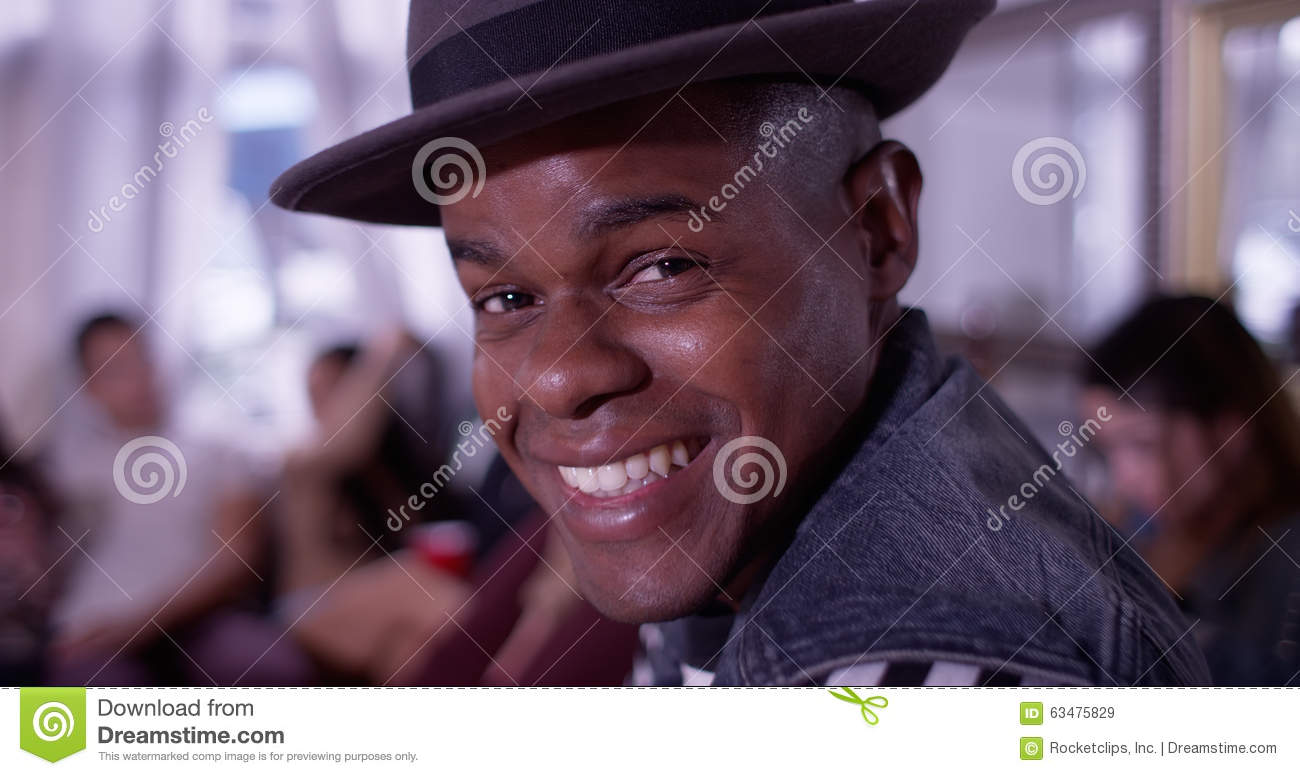 Download Portrait Of Handsome Young Black Hipster Man Smiling And Laughin Stock Image - Image of happy, beauty: 63475829