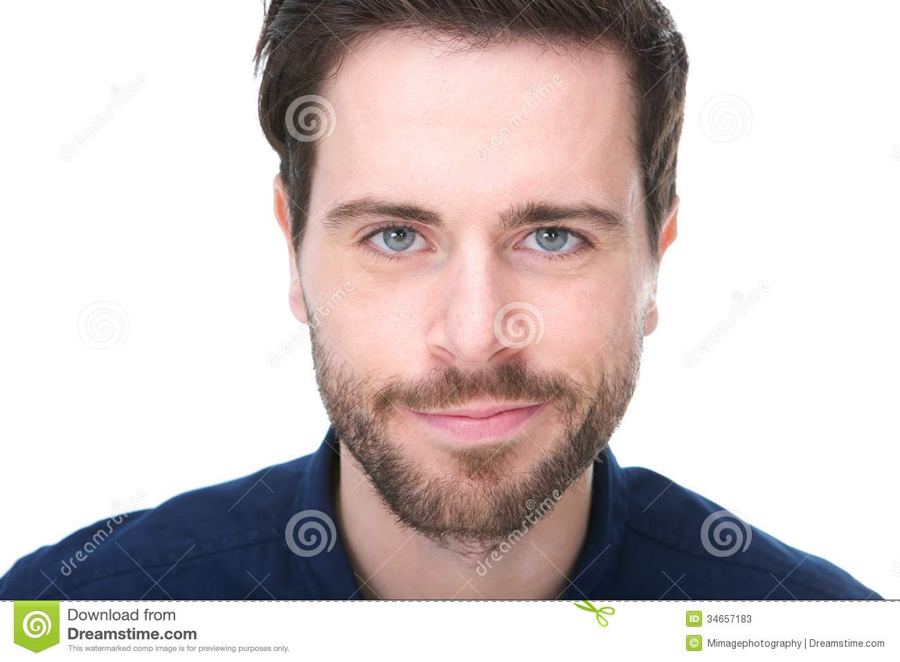 Portrait Of A Handsome Young Man With Beard Smiling Stock