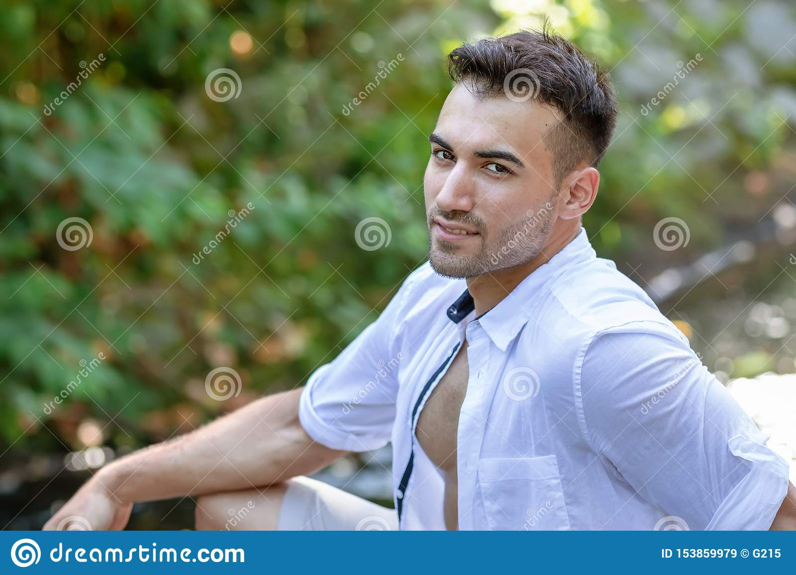 portrait of handsome young man, outdoor
