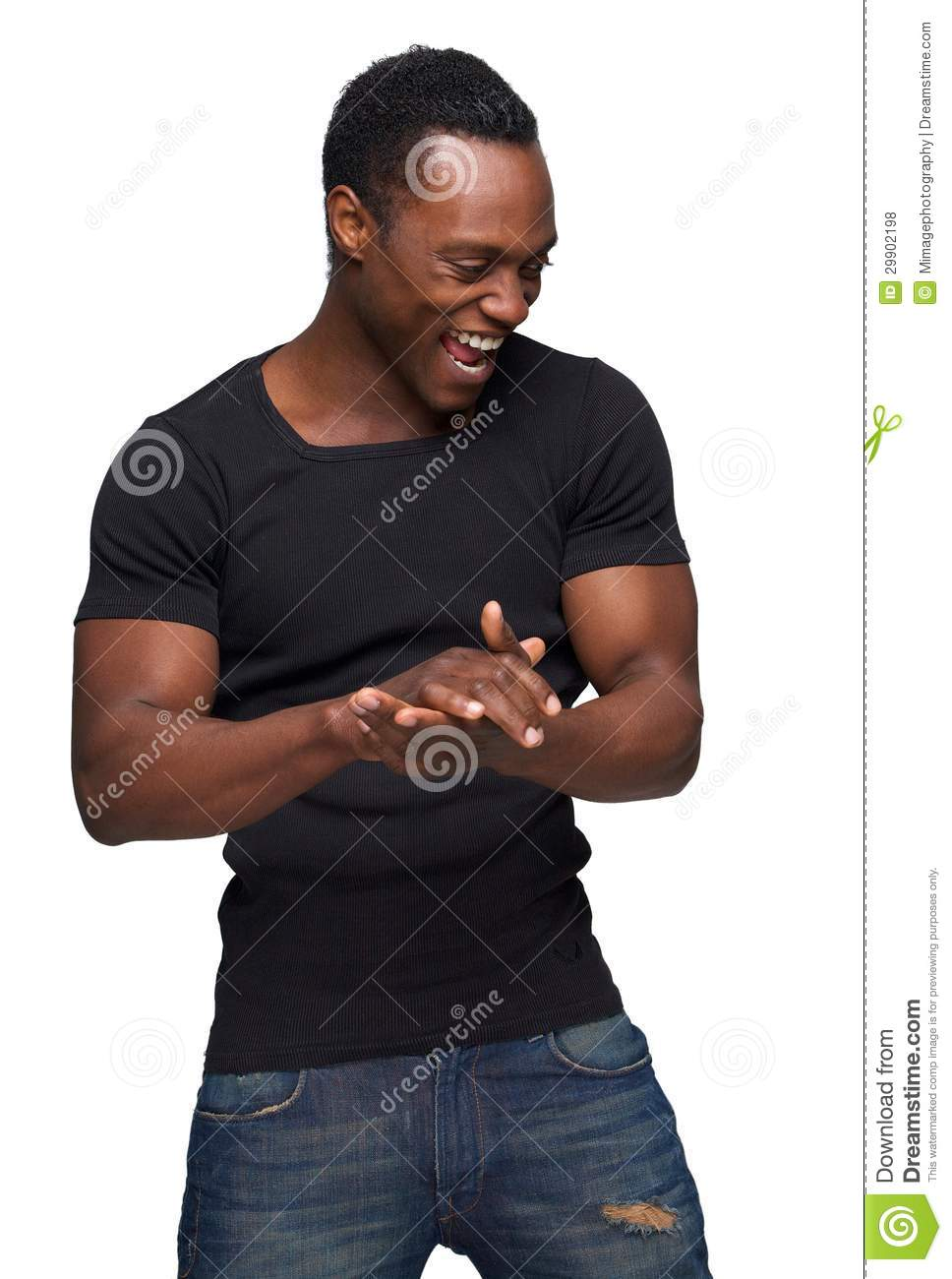 Happy African American Man with Hands Together