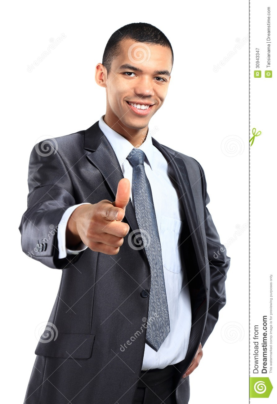Portrait of happy african business man pointing at you against