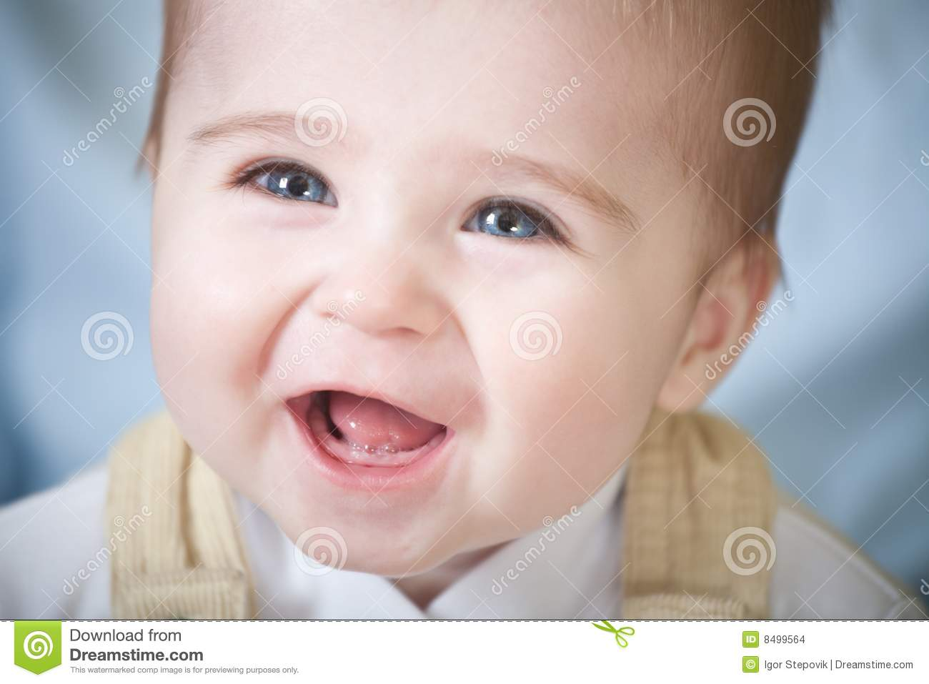 Portrait Of Happy Blue Eyes Baby Stock Photo Image Of