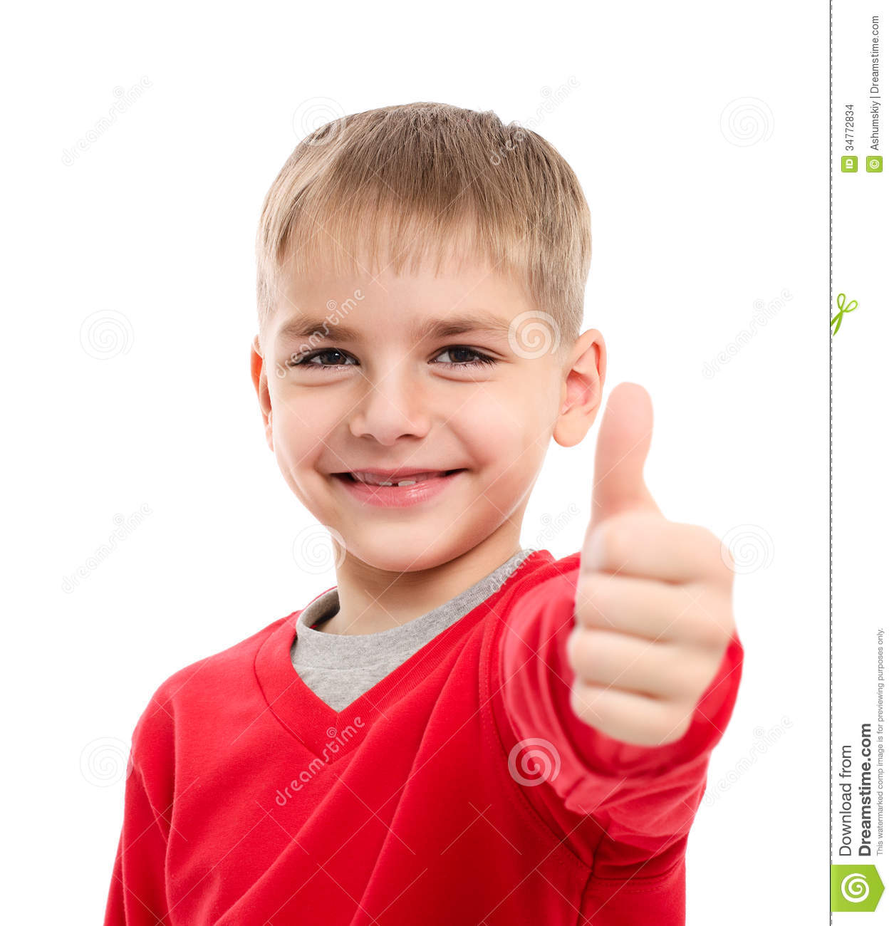 Portrait Of Happy Boy Showing Thumbs Up Gesture Stock