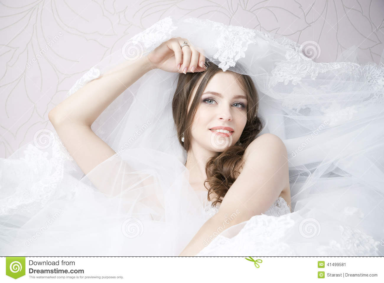 Portrait Of A Happy Bride In White Wedding Dress Stock Image - Image ...