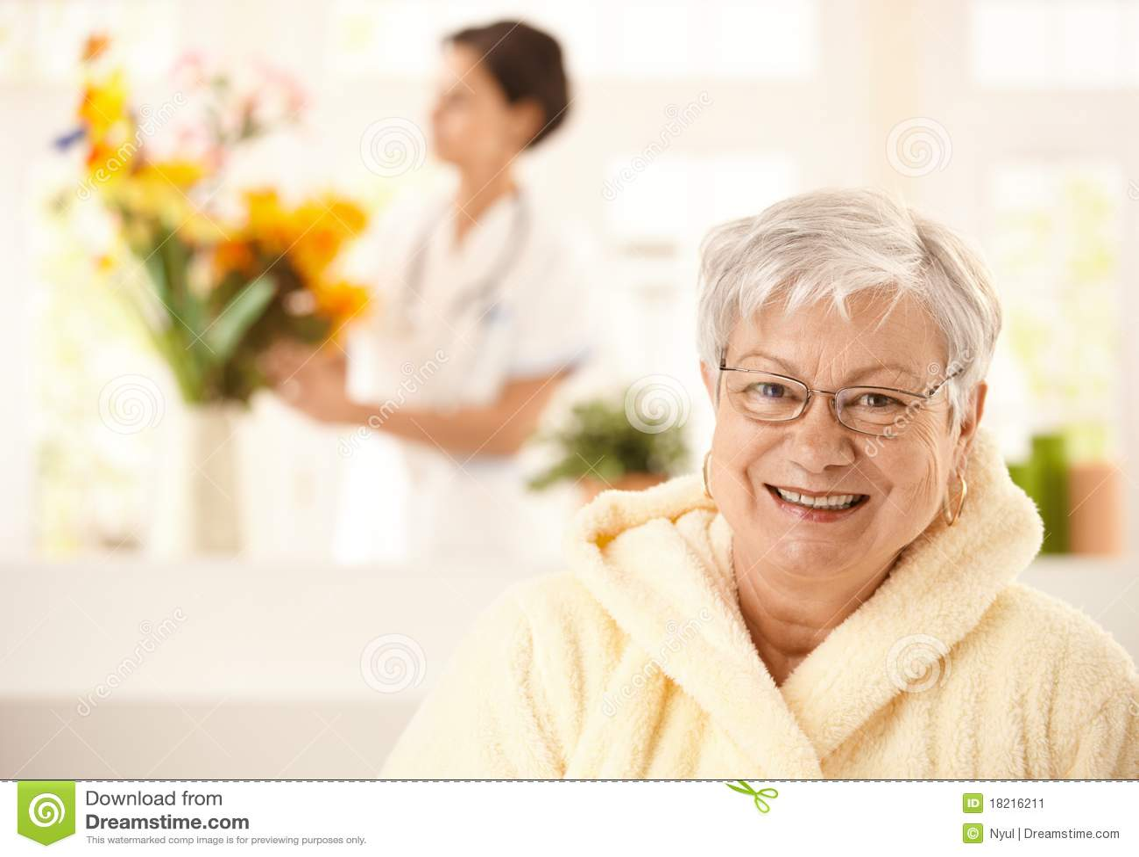 Portrait of happy elderly woman