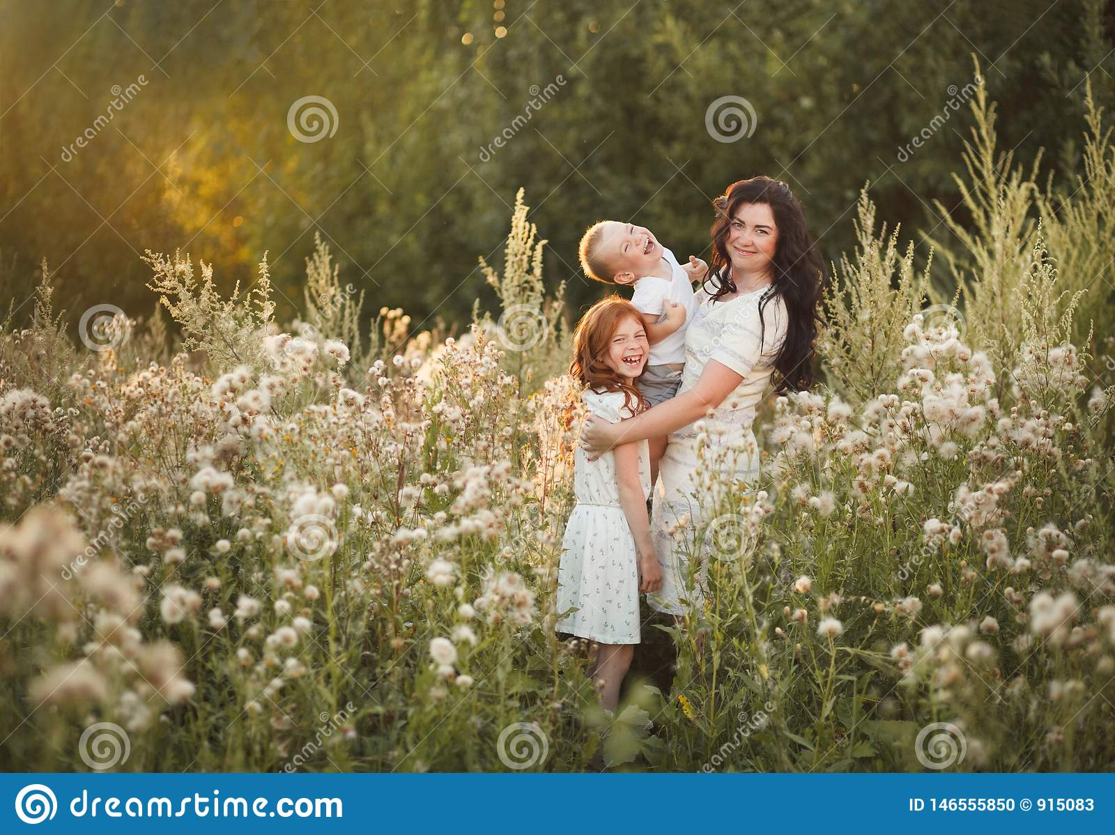 Portrait of happy family having fun outdoor. Concept of happy family, childhood, parenthood
