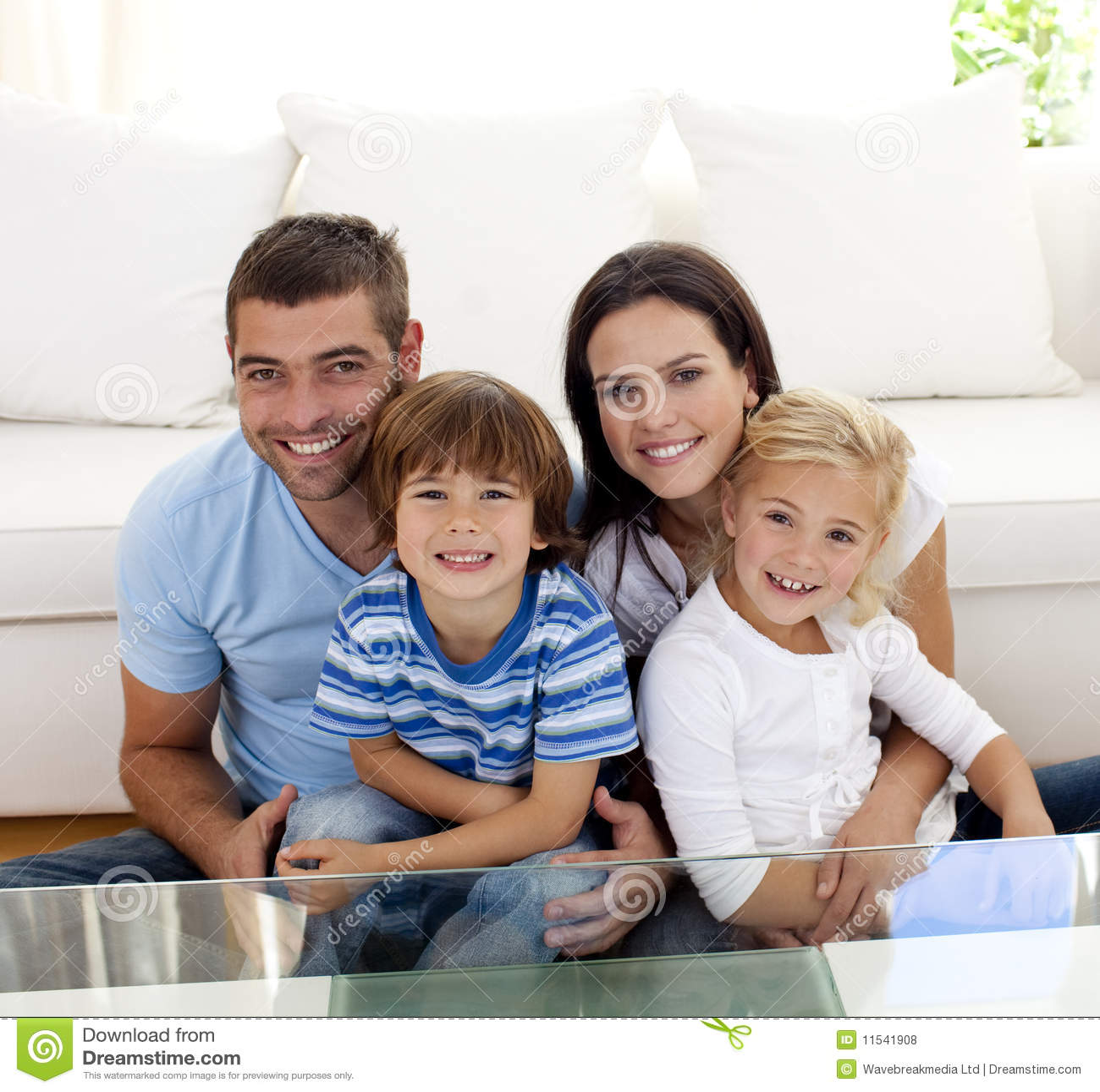 portrait happy family smiling living room 11541908