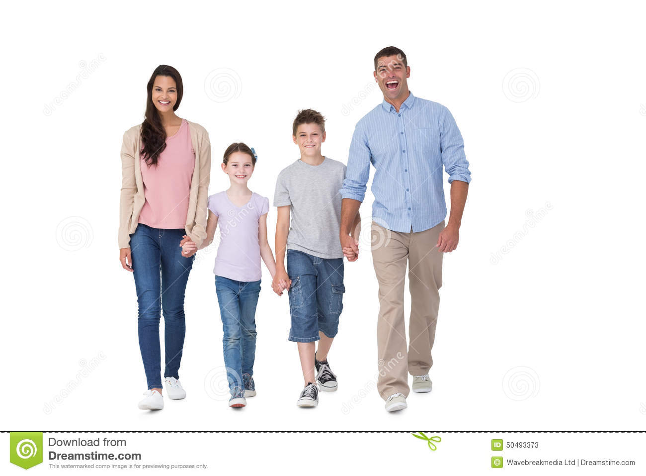 Portrait Of Happy Family Walking Over White Background ...