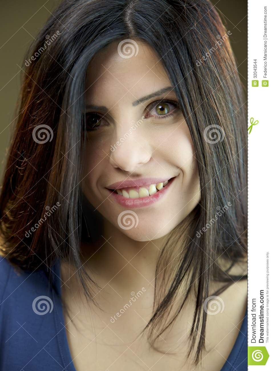 Portrait Of Happy Female Model With Green Eyes Stock