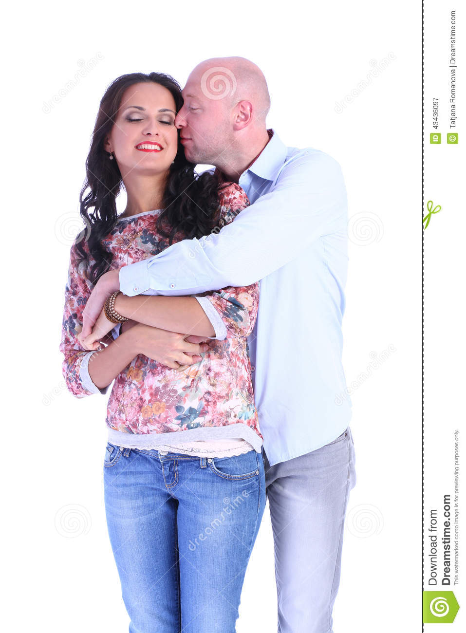 Portrait of happy kissing couple