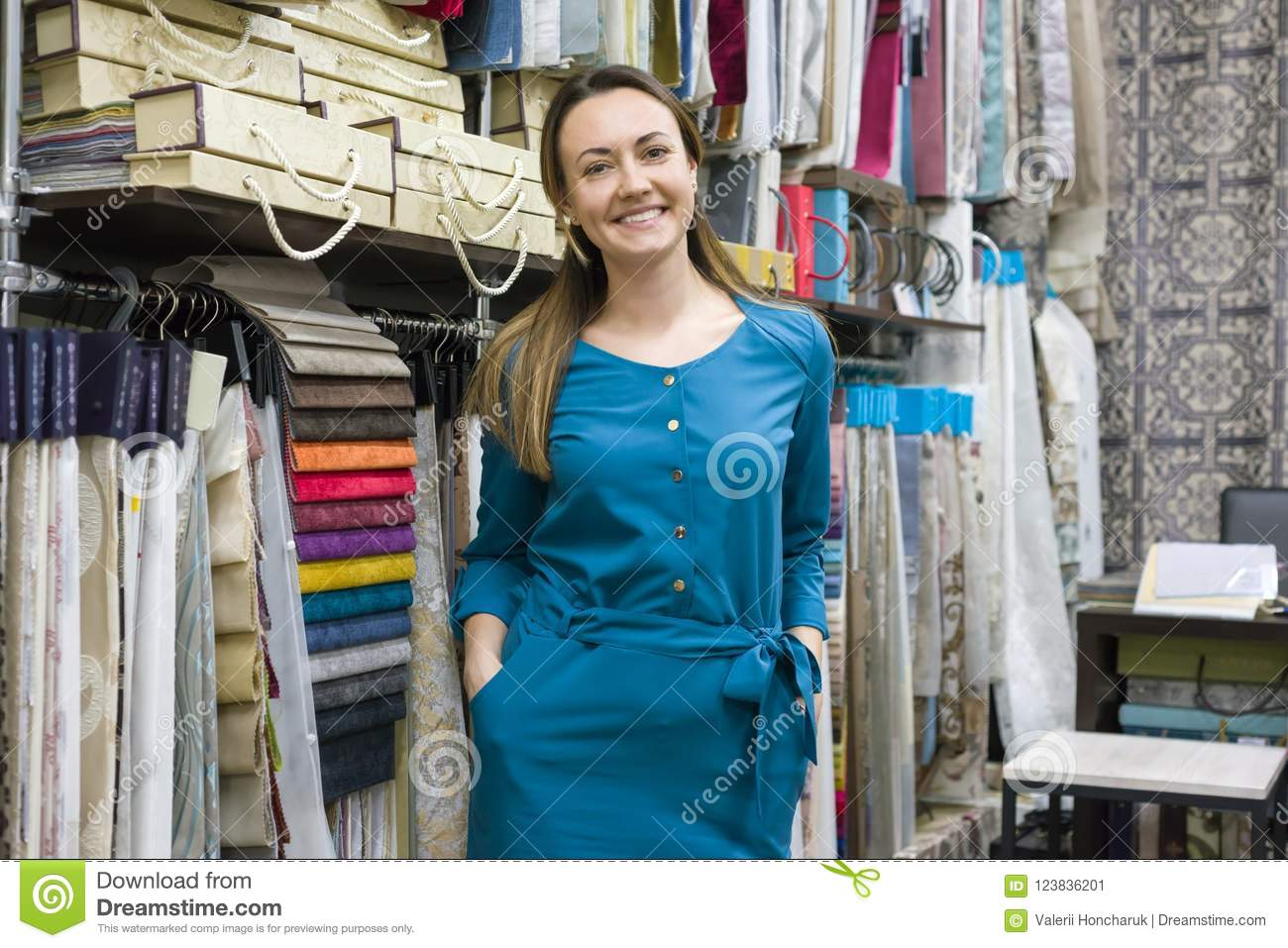 Portrait Of Happy Mature Woman Owner In Interior Fabrics Store Background Fabric Samples Small Business Home Textile Shop Stock Image Image Of Middle Fashion 123836201