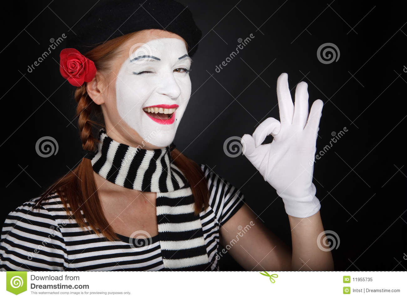 Portrait Of A Happy Mime Comedian Showing OK Royalty Free