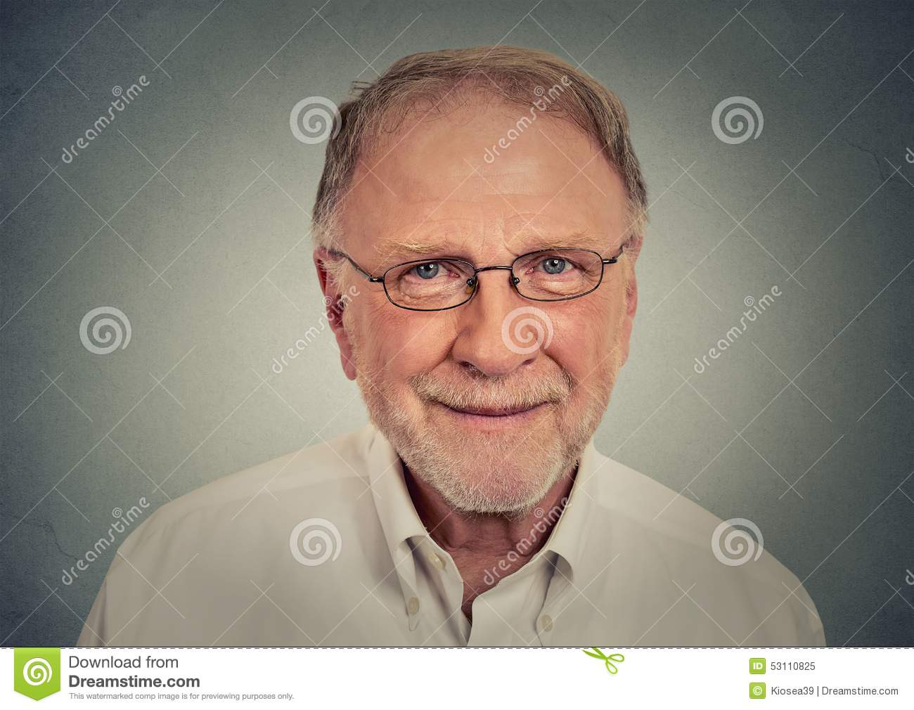 121ae8f16c Portrait of happy Old Man with glasses. On gray wall background royalty  free stock photo