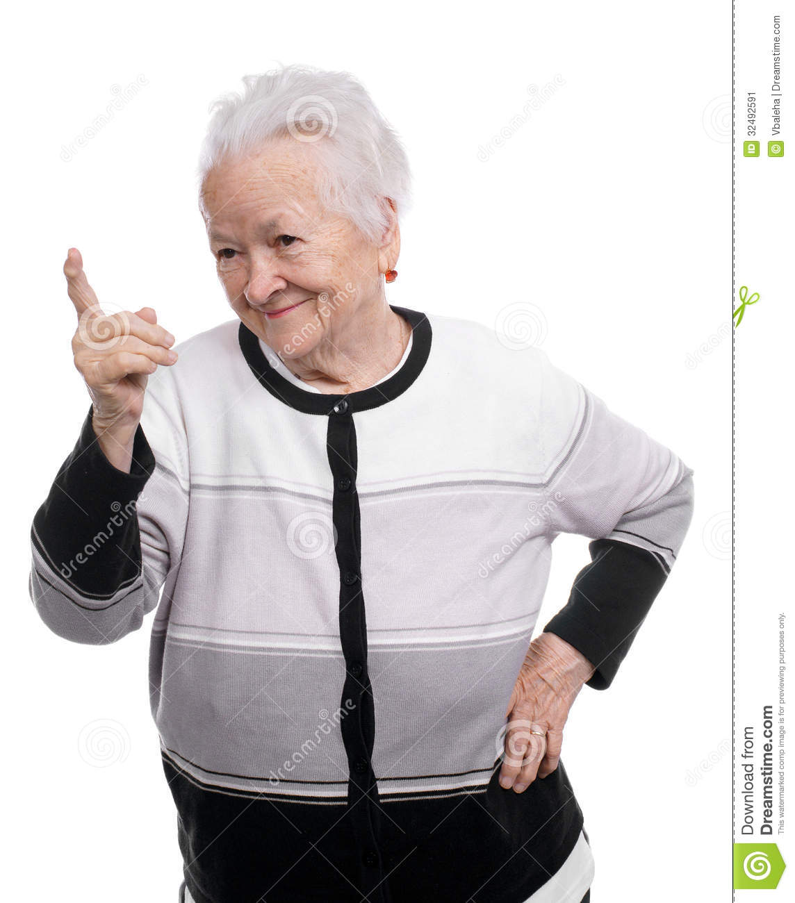 Portrait Of A Happy Old Woman Pointing Upwards Stock Image