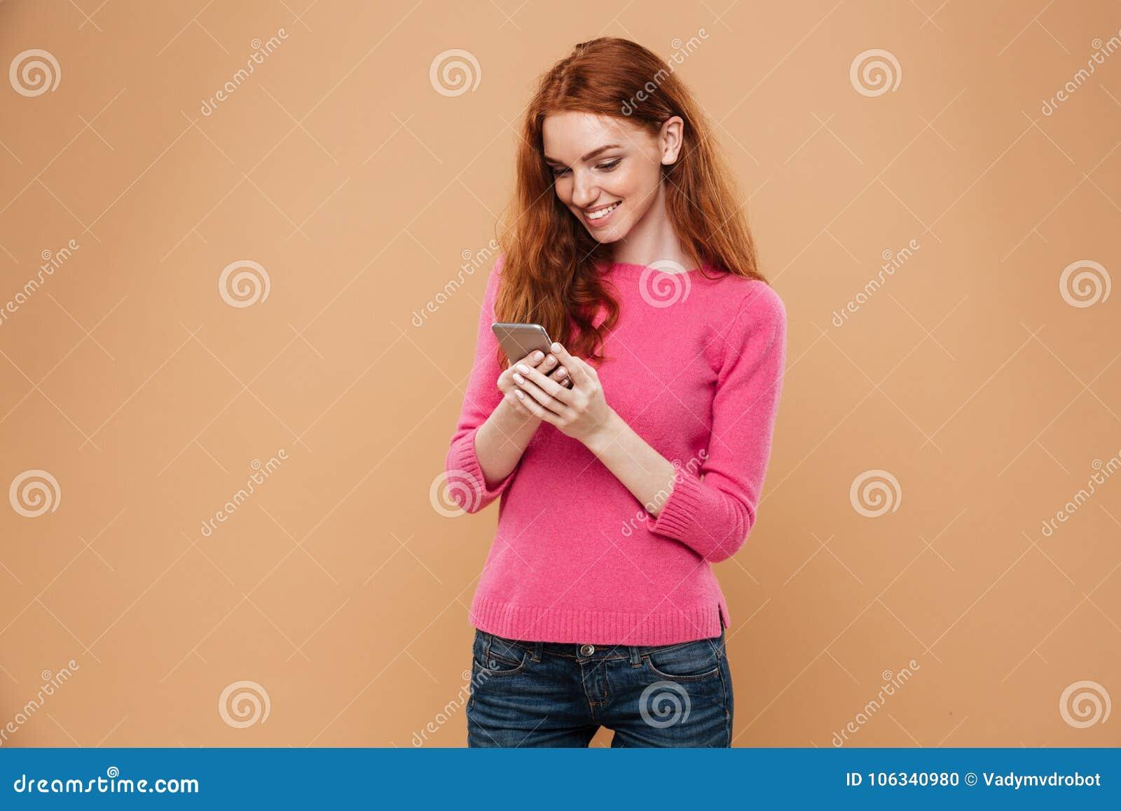 girl mobile Redhead