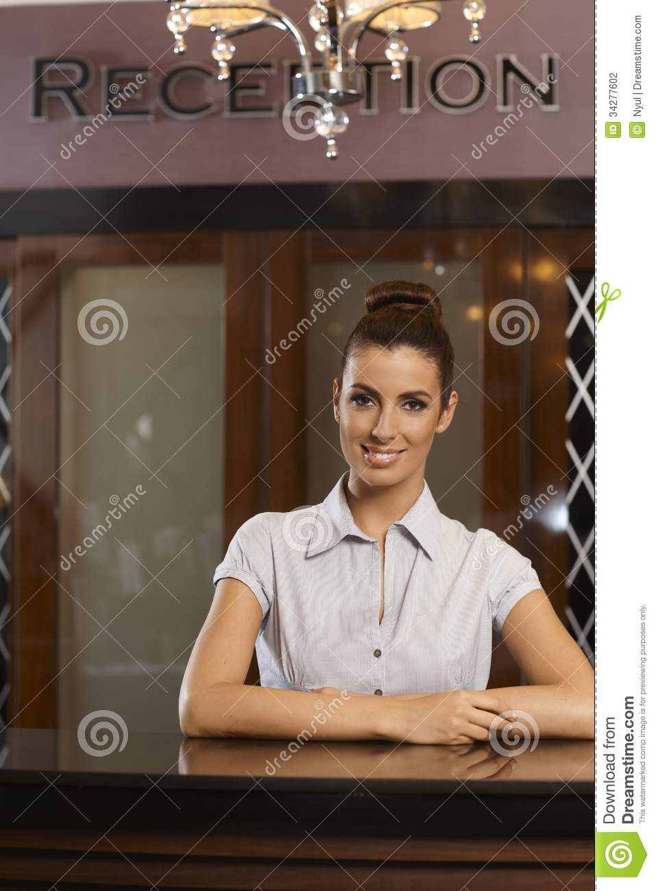 Portrait Of Happy Receptionist Stock Photo - Image: 34277602