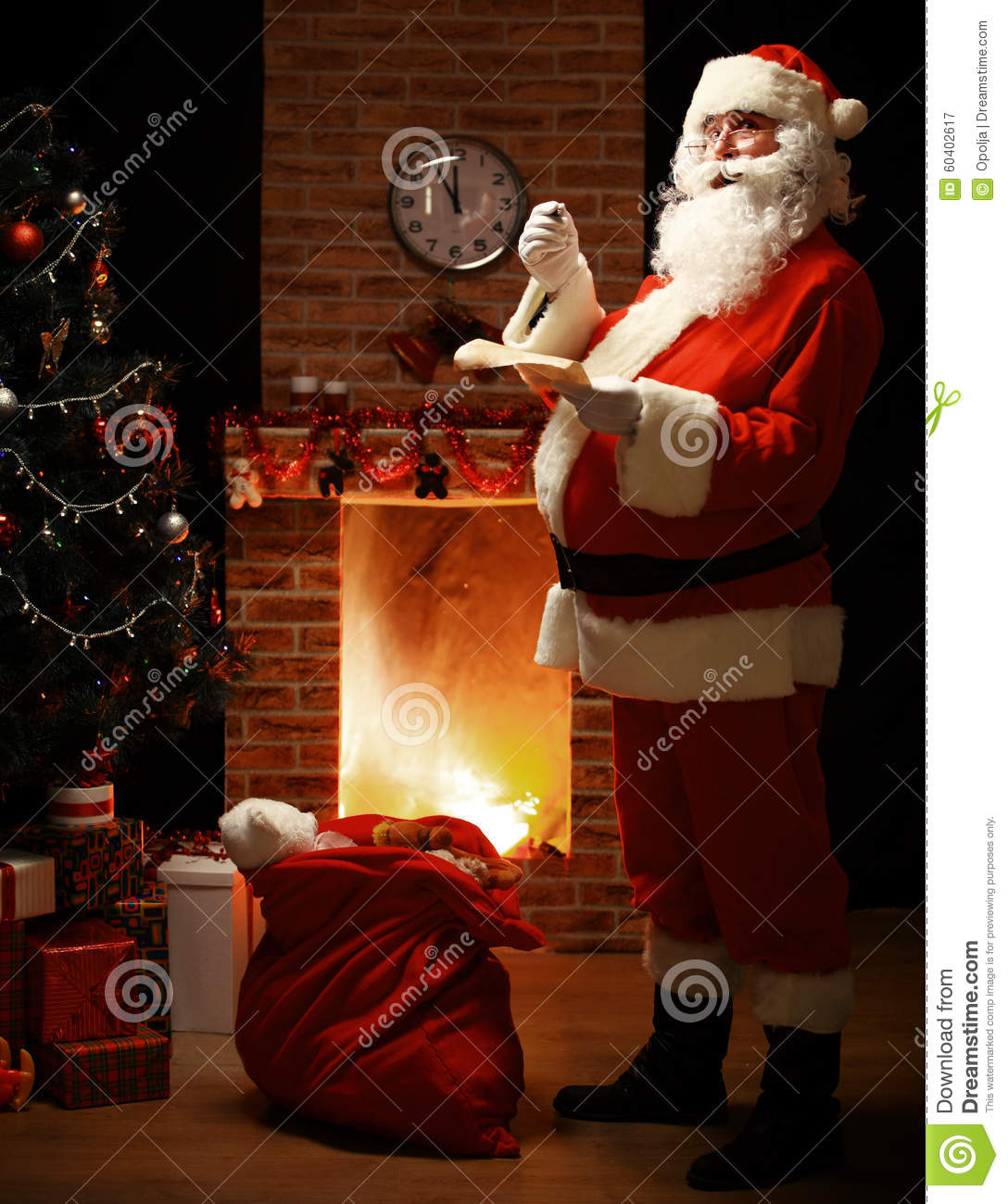 Portrait Of Happy Santa Claus Standing At His Room At Home