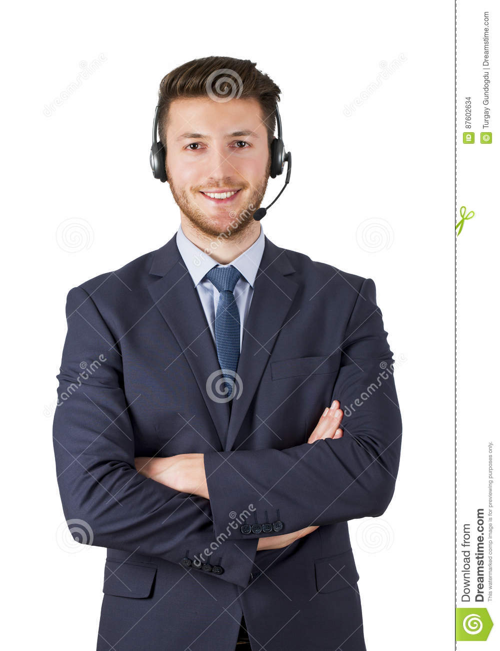 Portrait of happy smiling male customer support phone operator on white background isolated