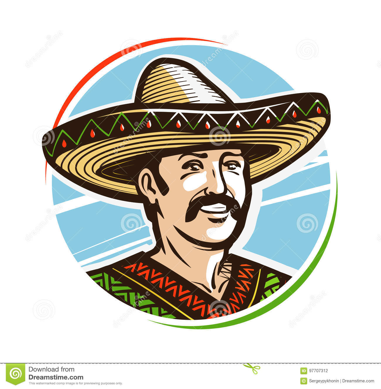 9fb772c2736 Portrait Of Happy Smiling Mexican In Sombrero