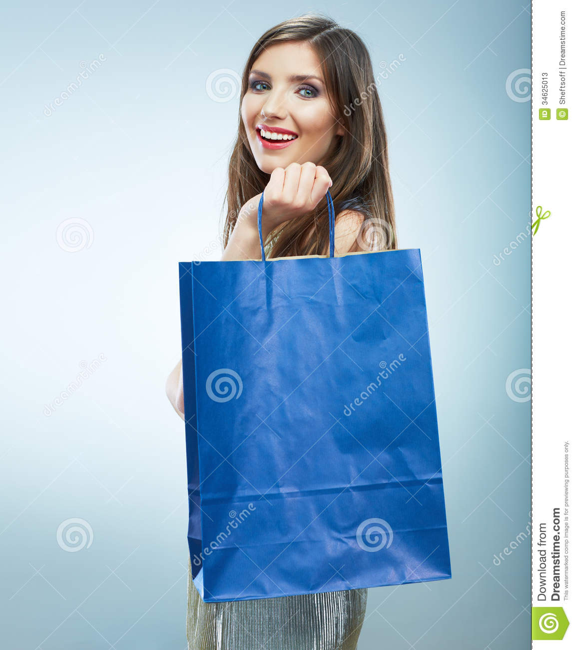 Portrait of happy smiling woman hold shopping bag female mode stock photos image 34625013 for Mode model