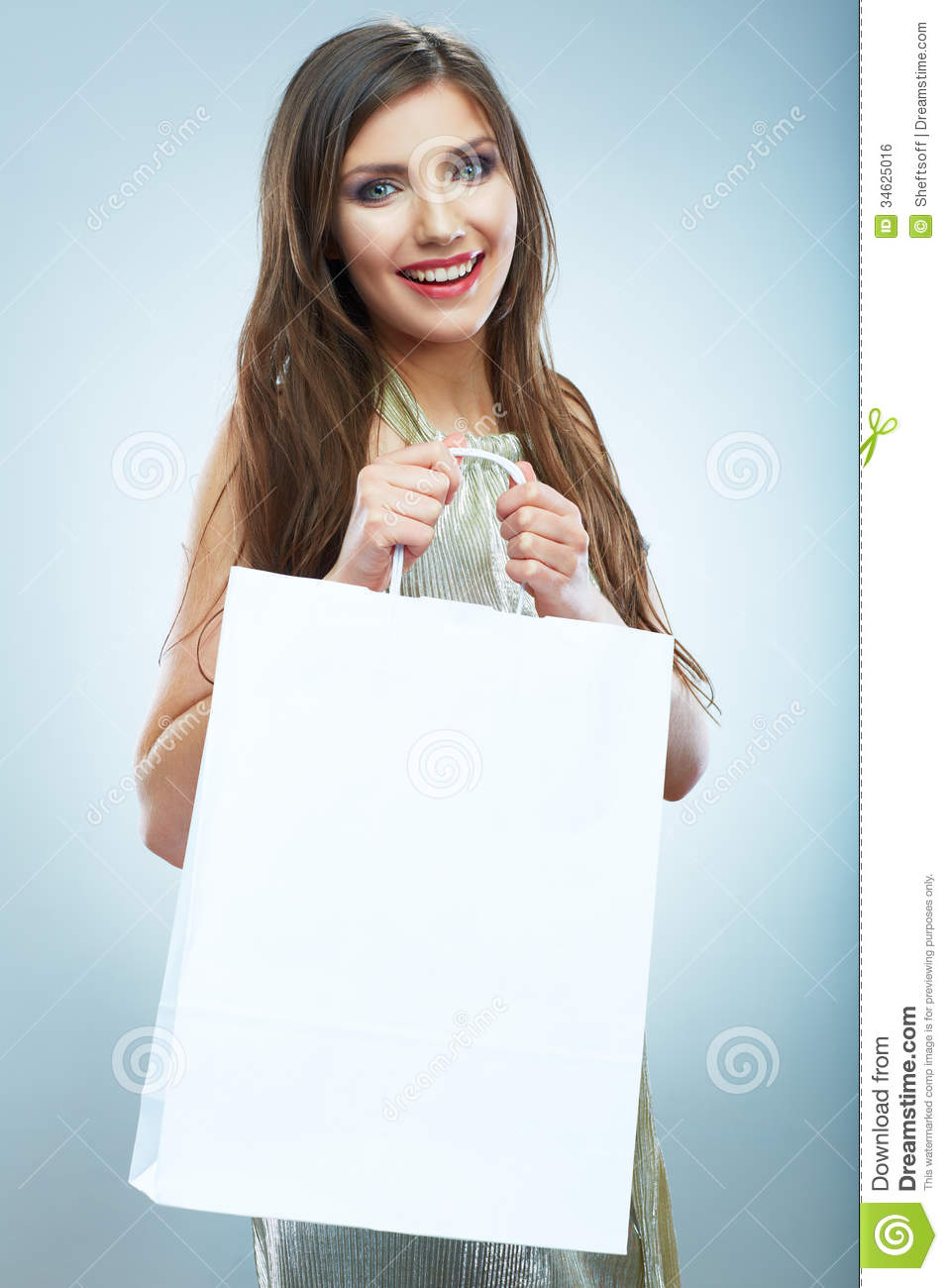 Portrait of happy smiling woman hold shopping bag female mode royalty free stock image image for Mode model