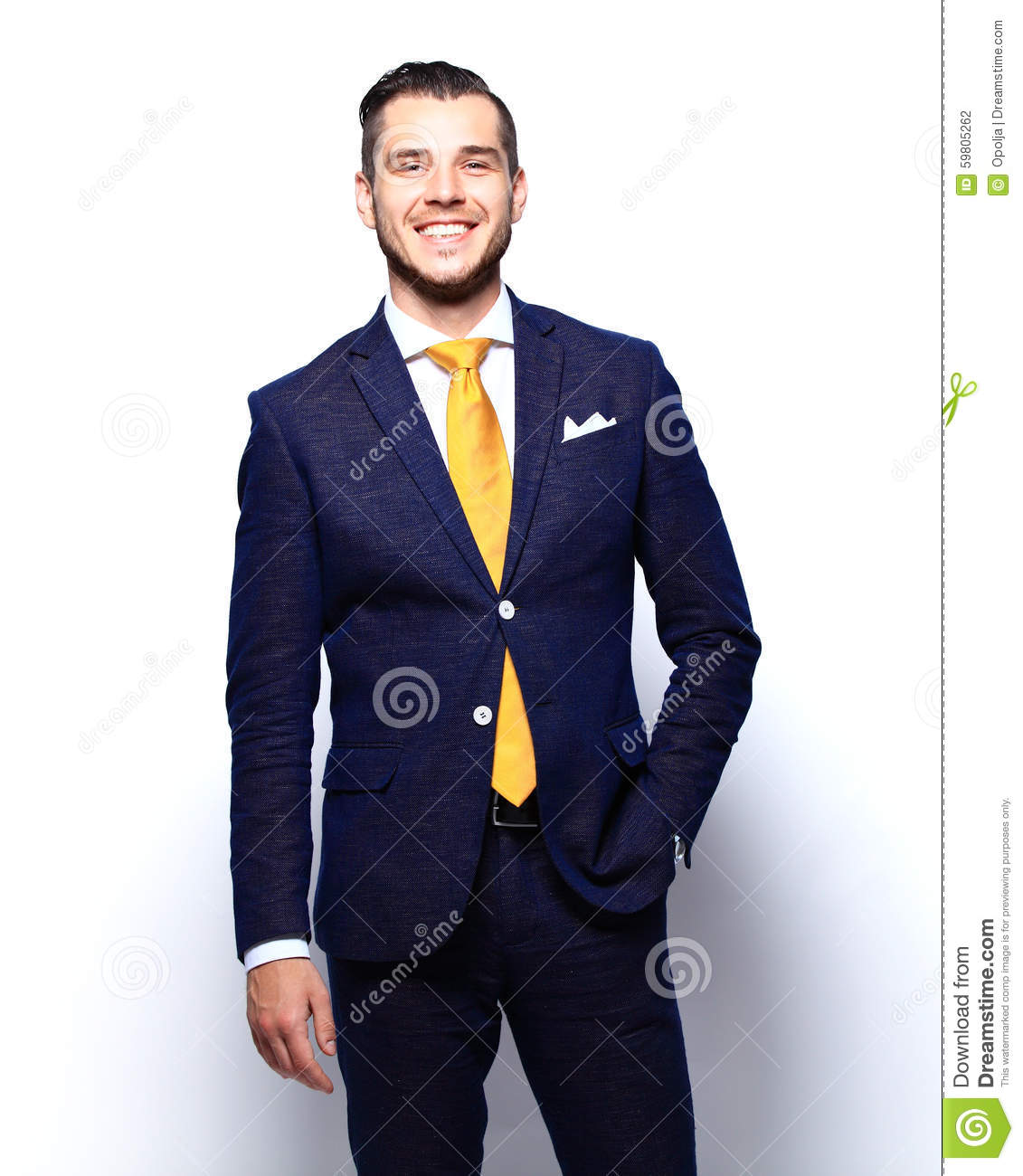 Portrait of happy smiling young businessman, isolated on white
