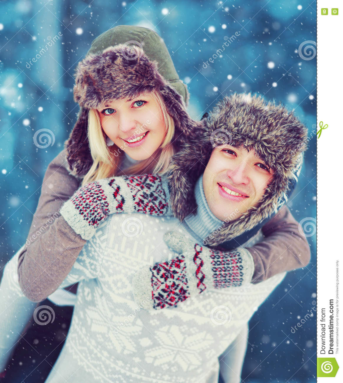 Portrait Happy Smiling Young Couple In Winter Day Having