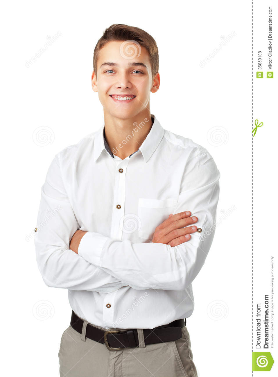 Portrait Of Happy Smiling Young Man Wearing A White Shirt ...