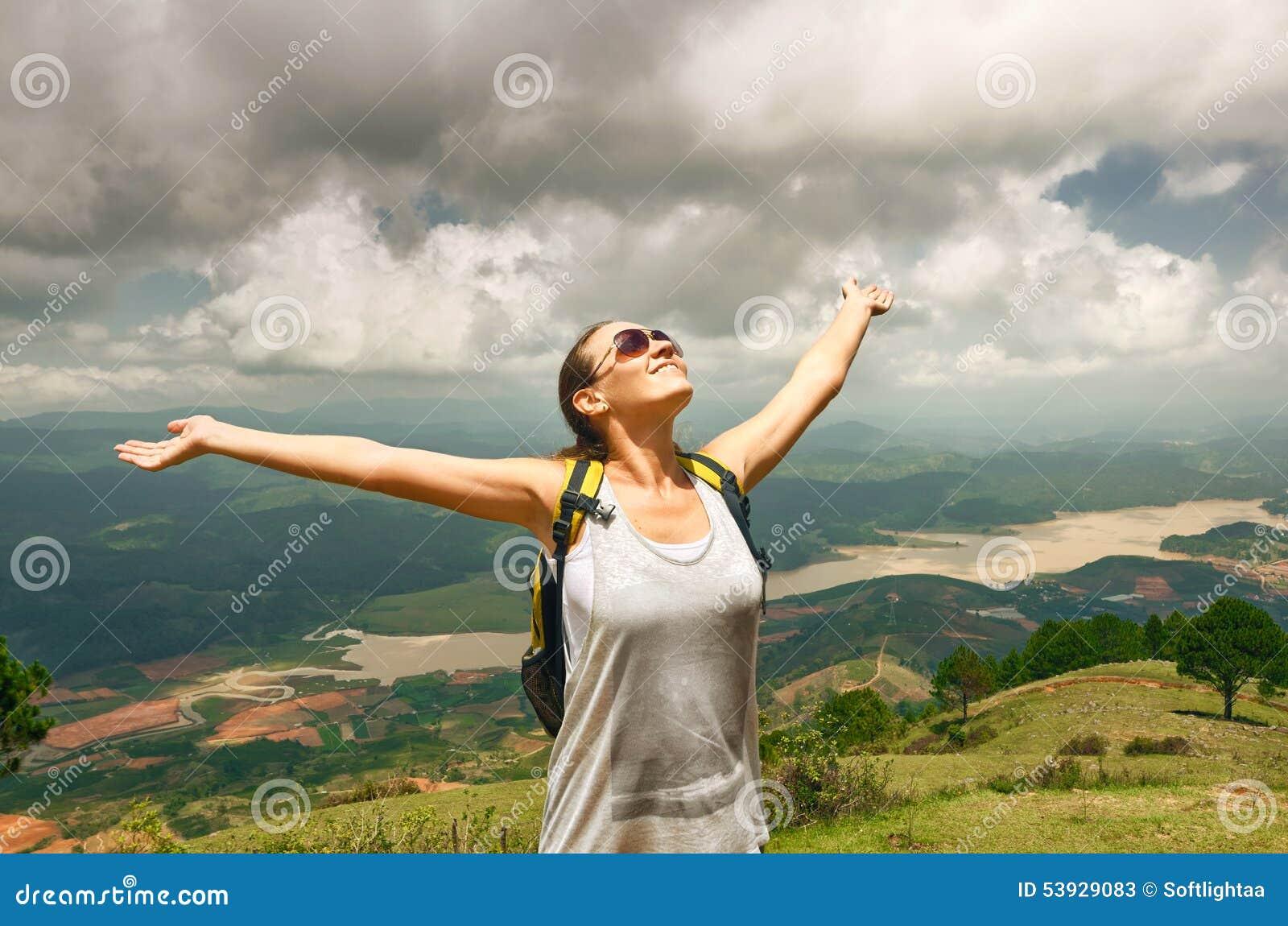 Hiking Woman Climbing Up To Mountain Peak Royalty-Free ...