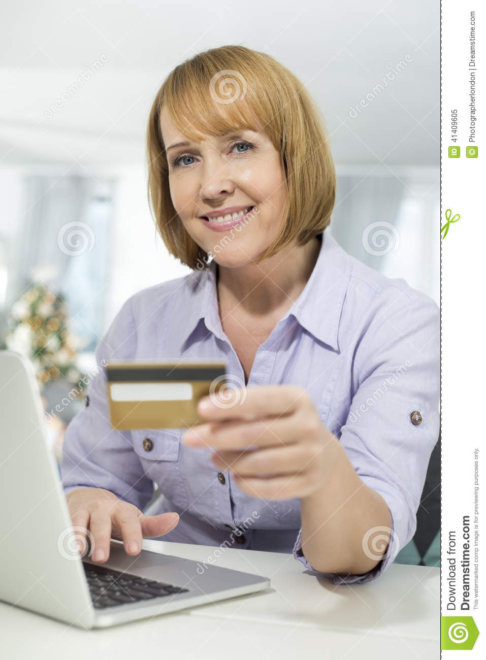 Portrait Of Happy Woman Shopping Online At Home During ...