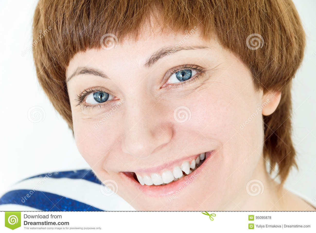 Portrait Of Happy Woman With Short Brown Hair Stock Photo Image Of
