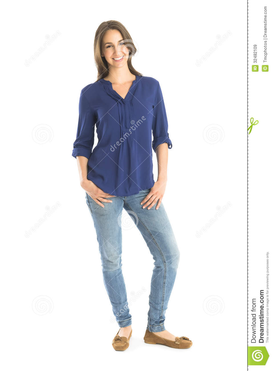 Woman Standing White Background Portrait of happy womanWoman Standing Side White Background
